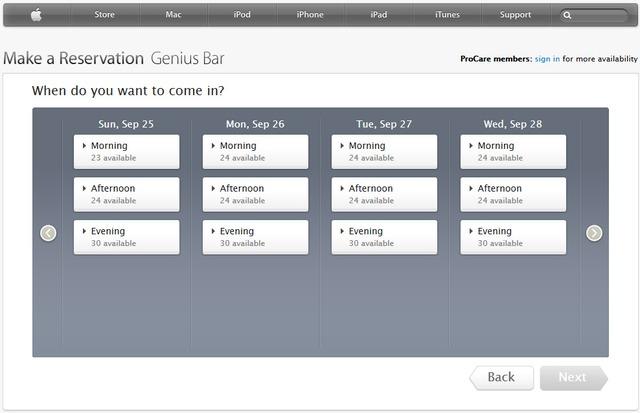 Apple Reservation Genius Bar