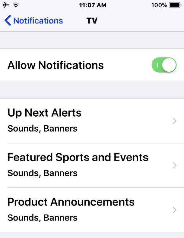 Disable TV Notifications on iPhone & iPad: