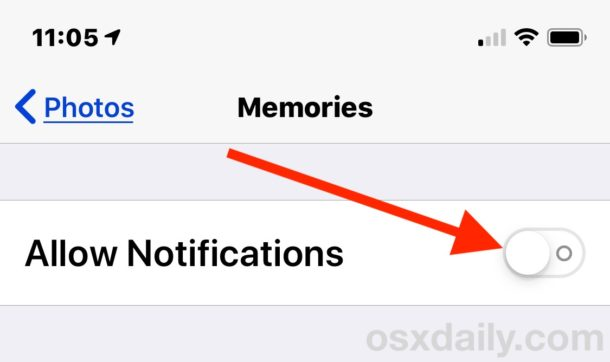 turn off memories iphone