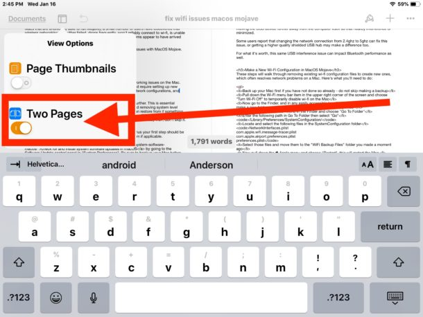 View both sides of a Page Document Open Side-by-Side on iPad: