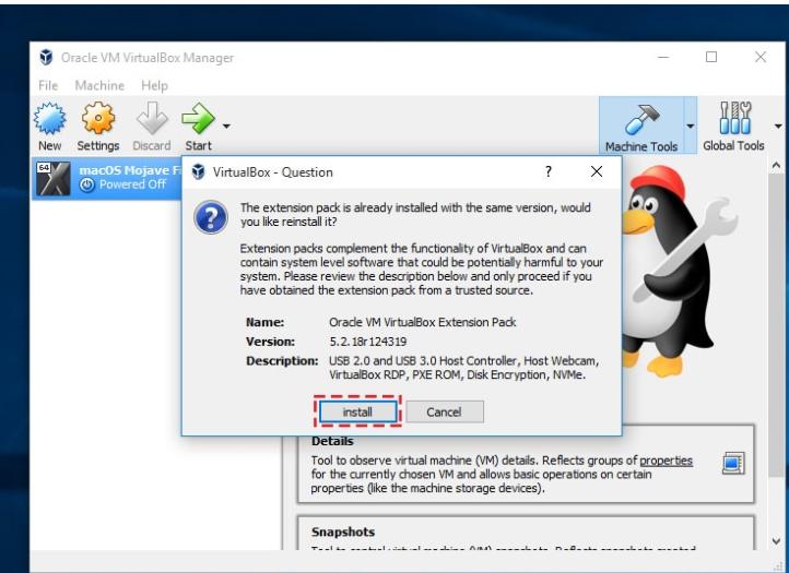 virtualbox extension pack